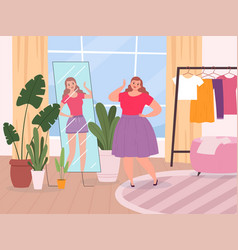 Woman mirror oversize lady standing front vector