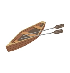 Wooden Peddle Type Of Boat Icon vector image