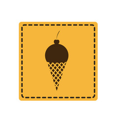 Yellow emblem ice cream icon vector