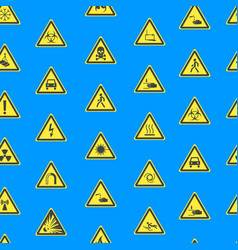 yellow warning hazard signs seamless pattern vector image