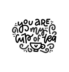 you are my cup tea hand drawn valentines day vector image