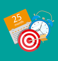 alarm clock calendar target time management vector image
