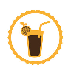 circular frame with cocktail drink with lemon vector image vector image