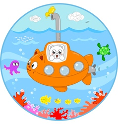 Cute cat on submarine under water vector image vector image