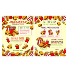 fast food restaurant and burger cafe poster design vector image vector image
