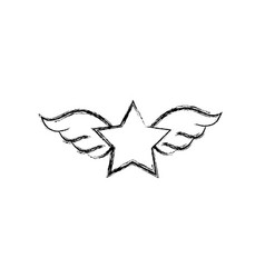 figure star with wings rock symbol art vector image