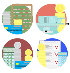 financial audit and money account set icons vector image vector image