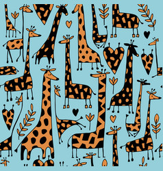 funny giraffes sketch seamless pattern your vector image vector image