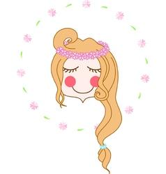 Girl wearing flower chaplet vector