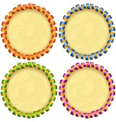 holiday circle frame set vector image vector image