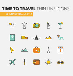 travel vacations linear thin line icons vector image vector image