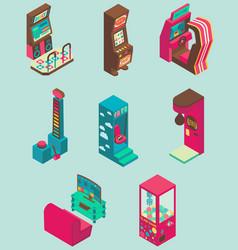 arcade game machine icon set flat isometric vector image vector image