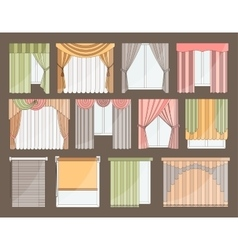 Different curtains and blinds for interior design vector image vector image
