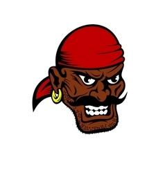 Fierce dark-skinned cartoon pirate character vector
