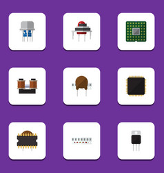 Flat icon appliance set of cpu microprocessor vector