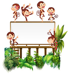 frame template with little monkeys vector image vector image