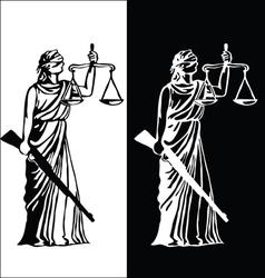 Justice statue black vector image