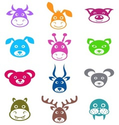 Animal labels vector image vector image