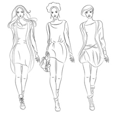 black and white beautiful fashion girls top mo vector image vector image