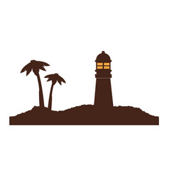 color silhouette of island with lighthouse and vector image vector image