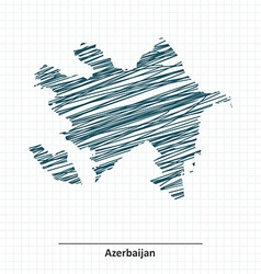 Doodle sketch of Azerbaijan map vector image