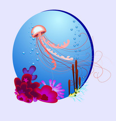 oval with a jellyfish and vector image vector image
