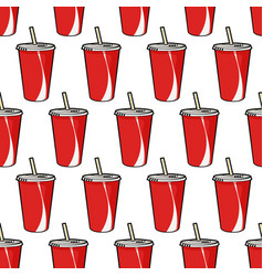 pattern with red soda cup with straw vector image