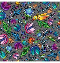 Seamless cartoon hand-drawn pattern with flowers vector image vector image
