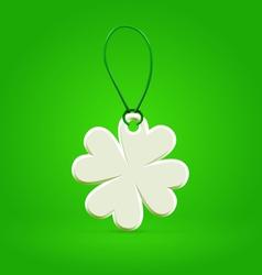 White plastic shamrock leaf tag vector image vector image
