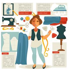 atelier tailor or dressmaker designer profession vector image