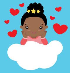 cute little black girl sitting on cloud valentine vector image