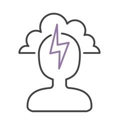 Headache icon pain symbol stress sick man brain vector image vector image