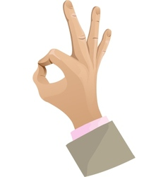 Man hand showing ok sign vector image vector image
