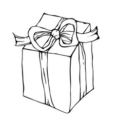 present box with ribbon ink vector image