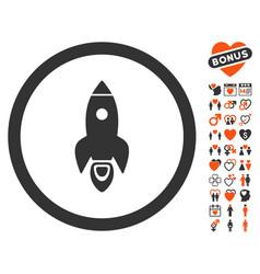 rocket start icon with love bonus vector image