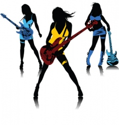 sexy female rock band vector image vector image