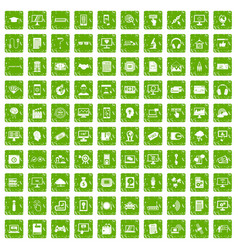 100 website icons set grunge green vector image