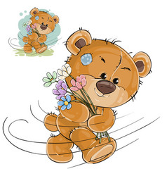 a brown teddy bear carries vector image