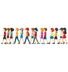 A crowd walking vector image