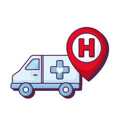 ambulance car with hospital pin location vector image