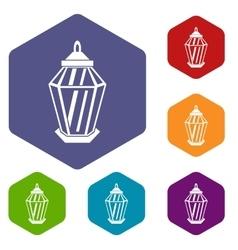 Arabic lantern icons set vector image