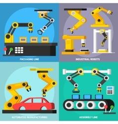 Automation Conveyor Orthogonal 2x2 Icons Set vector