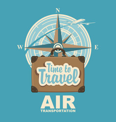 banner with plane travel suitcase and compass vector image