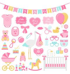 bashower girl set pink elements for party vector image