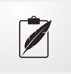 Blank with feather sign icon with feather vector