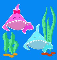 Blue bashark boy and pink bashark girl vector