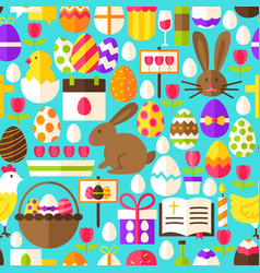 Blue easter seamless pattern vector