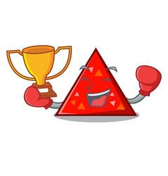 boxing winner triangel mascot cartoon style vector image
