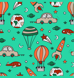 Bright seamless pattern for design with car vector