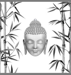 buddha face with bamboo t-shirt and tattoo print vector image